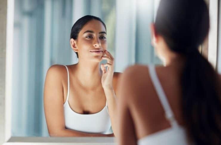 lady skincare mirror